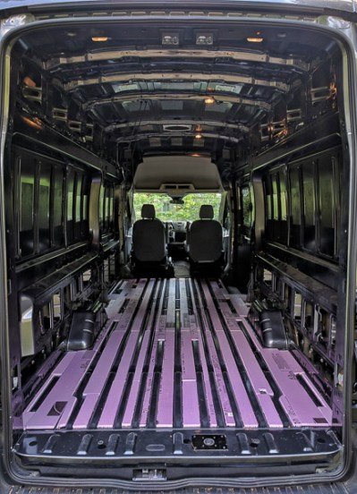 Van Conversion Floor Installation, filler strips final