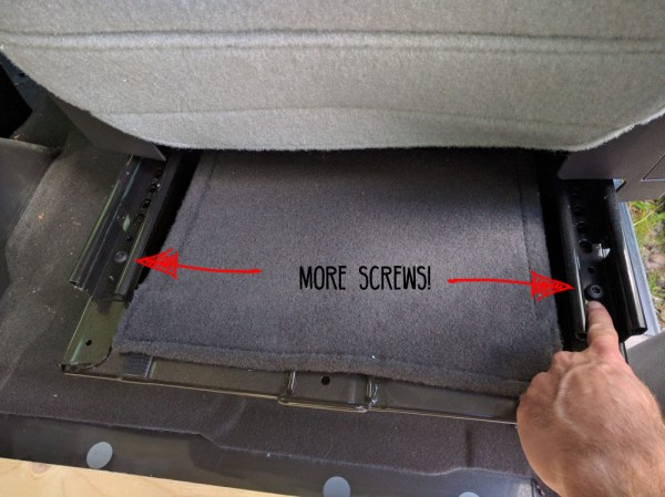 Van Conversion Swivel, rear screws