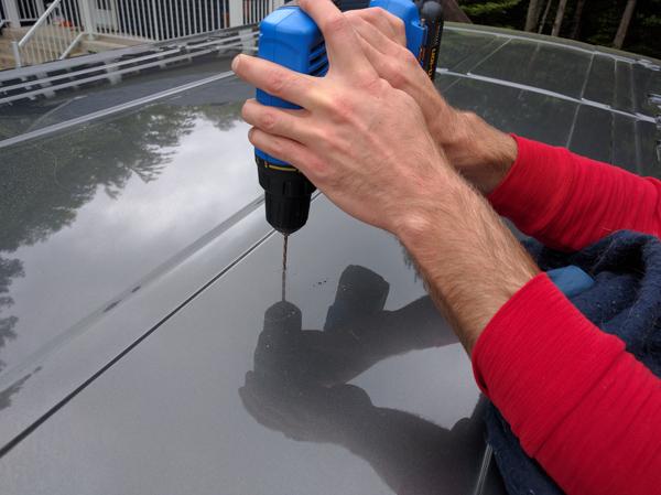 Solar Panel Installation, drill roof