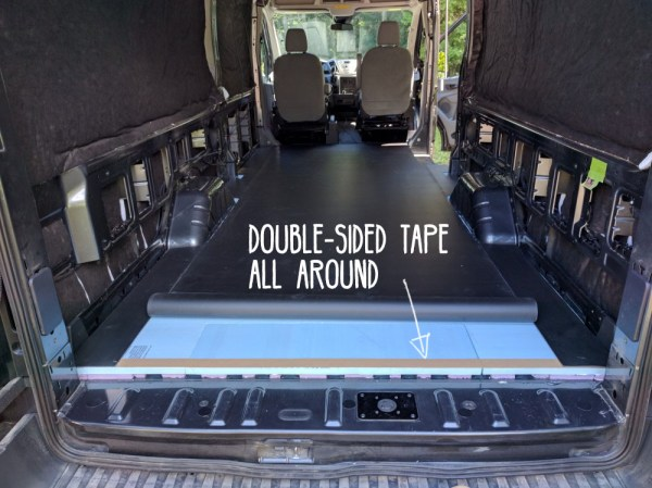 Double sided tape van conversion