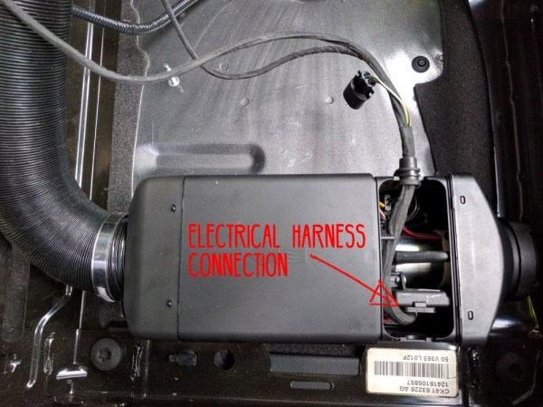Van Conversion Webasto Air Heater, electrical harness connection