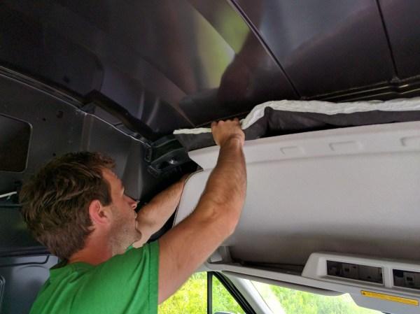Insulation Camper Van above Headliner Thinsulate