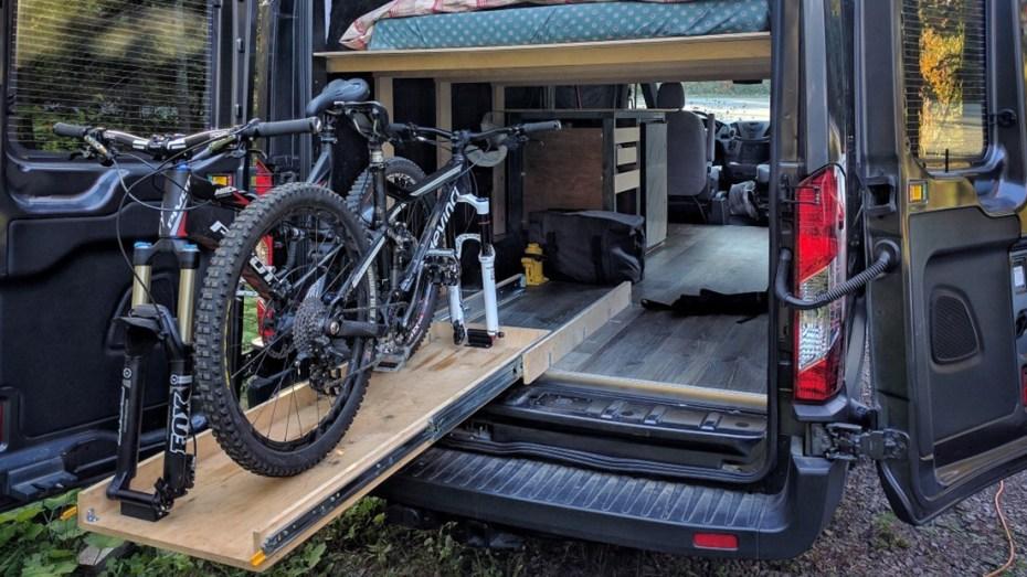 ford-transit-camper-van-conversion-slide-out-bike-rack-heading