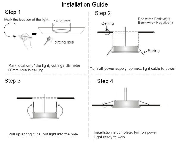 acegoo Recessed Ceiling Light LED 12V 3W, installation
