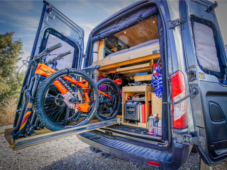 Garage DIY Van Conversion Mountain Bike Heading