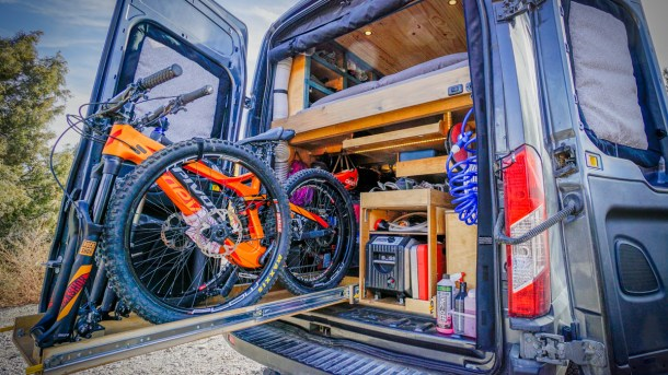 Garage DIY Van Conversion Mountain Bike Heading