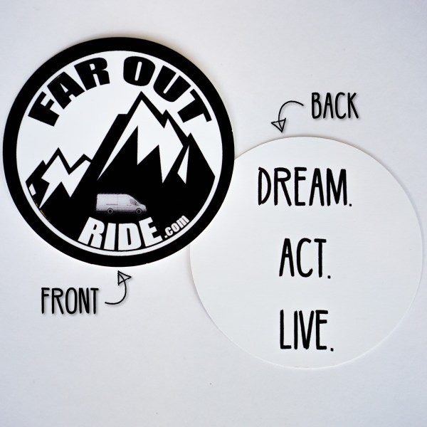 Faroutride Sticker (Front and Back with title)