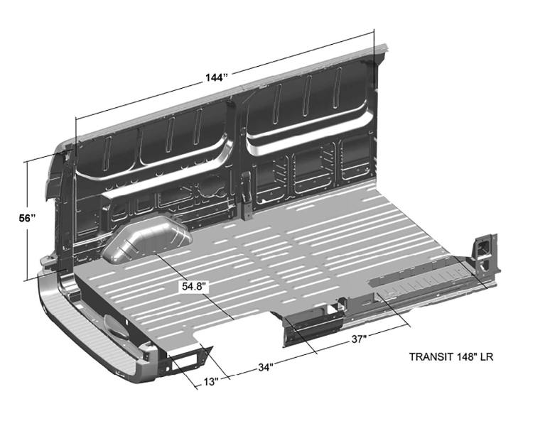 Ford-Transit-Interior-Cargo-Dimensions-(Long-Length-148WB,-Low-Roof)