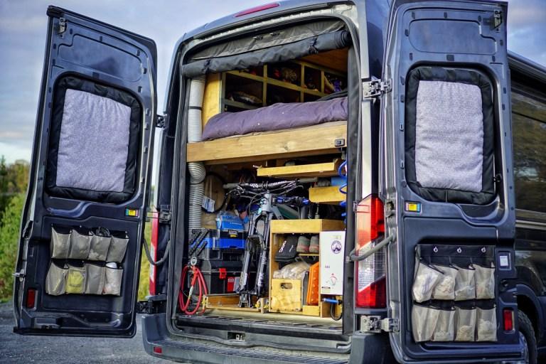 Slide Out Mountain Bike Rack Camper Van Build (6)