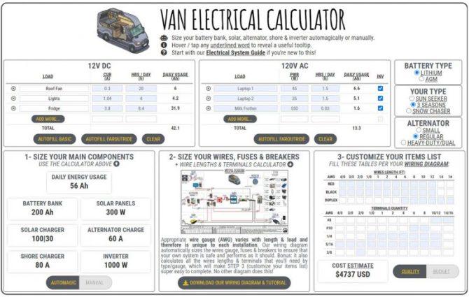 van electrical calculator  faroutride