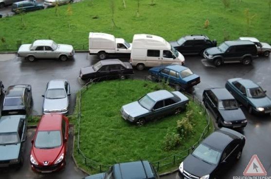 Нельзя штрафовать за парковку на газонах