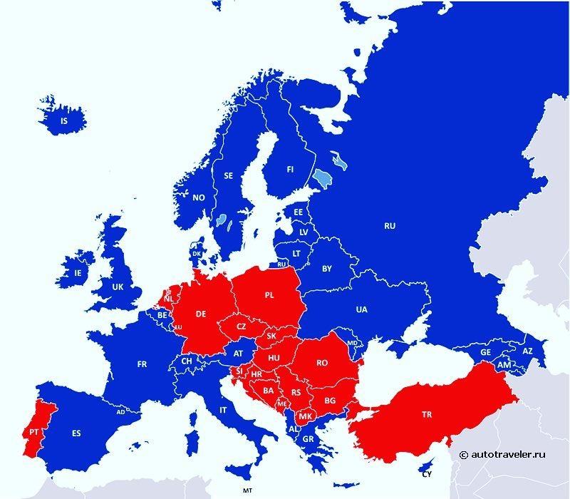 Карта использования шипованных шин в Европе