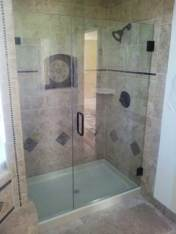 heavy glass shower door with panel