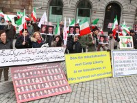 آکسیون اعتراضی در حمایت از مجاهدین محصور در کمپ لیبرتی –  استکهلم، شنبه 22 فوریه 2014