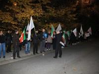 اعتراض علیه حمله موشکی به لیبرتی مقابل سفارت امریکا در استکهلم