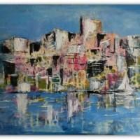 Storbyen abstrakt maleri