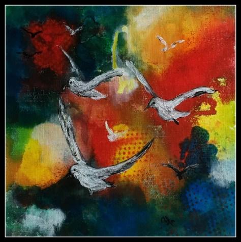 abstrakte fugle i akrylmaling