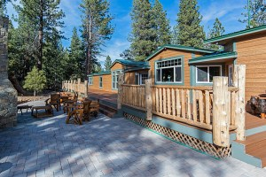 Home and patio at Tahoe ranch property.