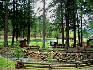Greenhorn Creek Guest Rancho stream, BBQ and pond.