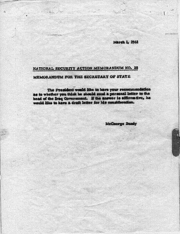 National Security Action Memorandums (NSAM) [Kennedy