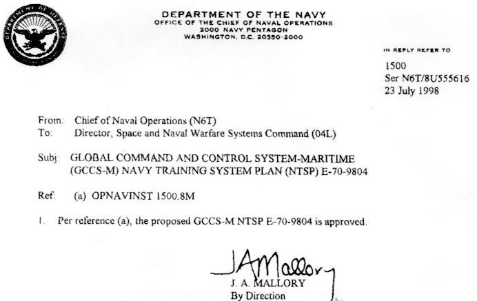 GCCSM Navy Training System Plan NTSP