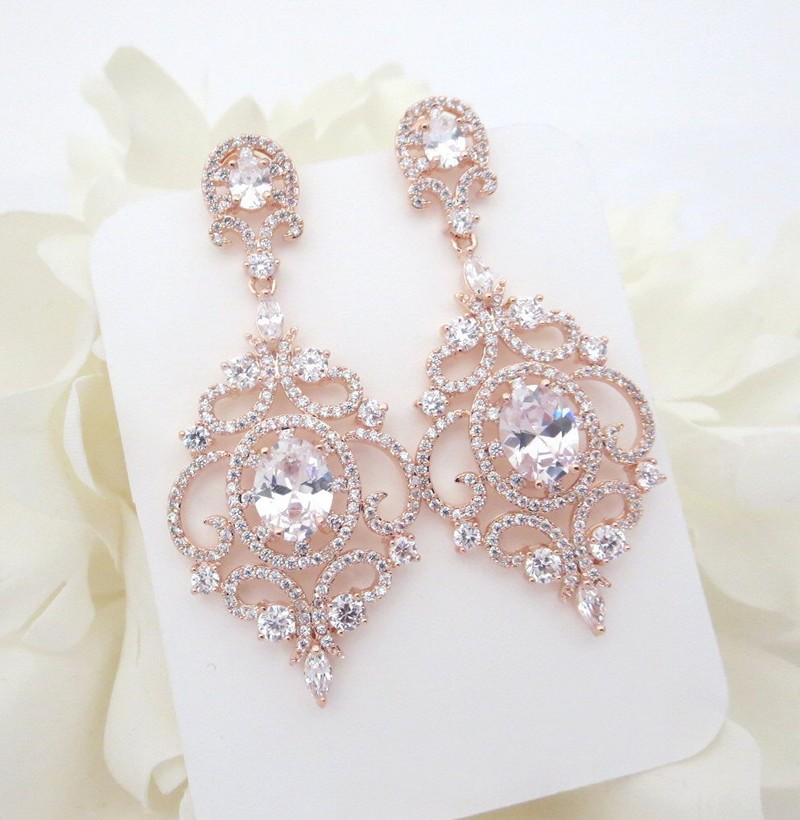Earrings diamond wedding brides (105)