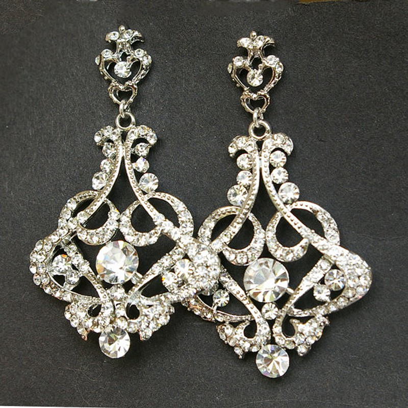 Earrings diamond wedding brides (108)