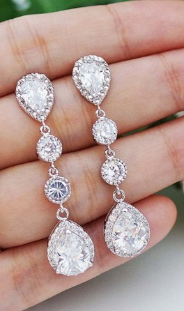 Earrings diamond wedding brides (113)