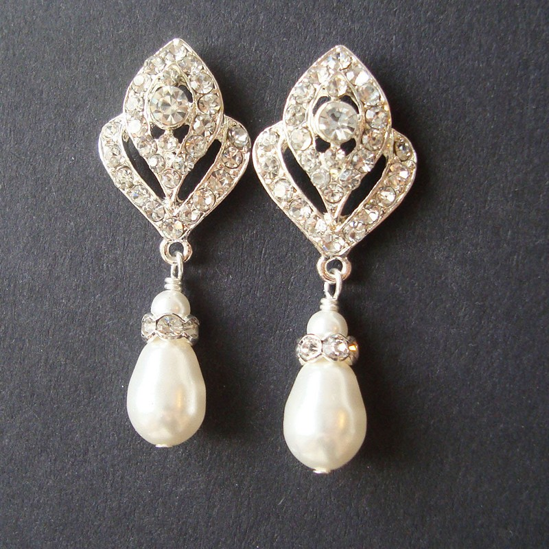 Earrings diamond wedding brides (14)