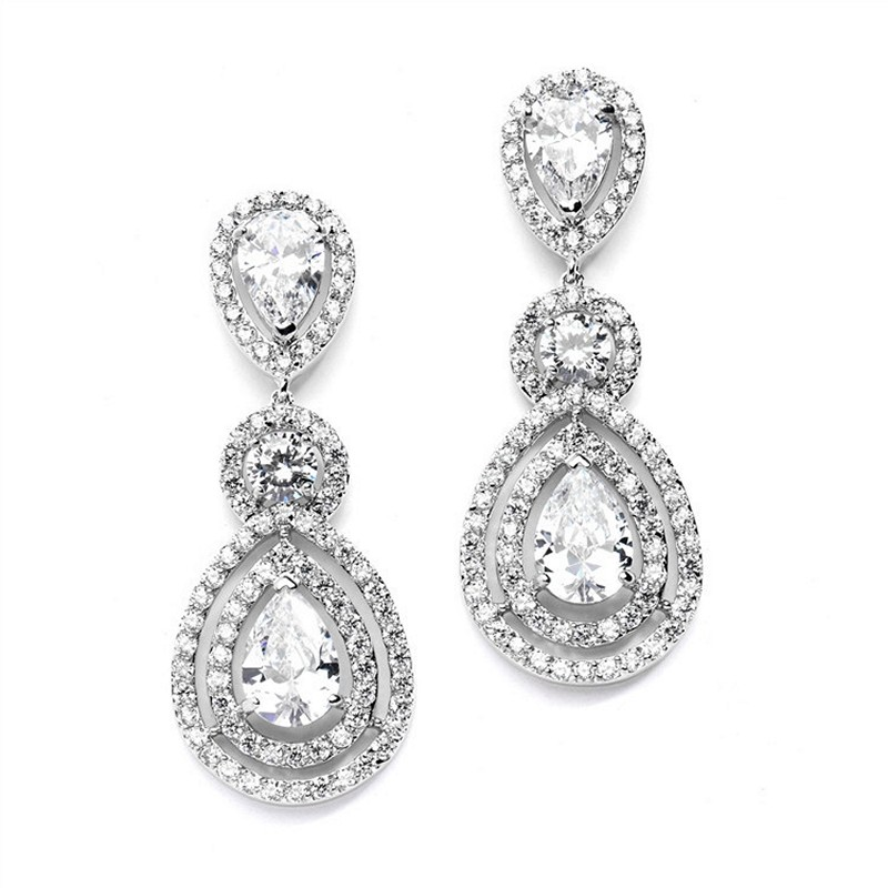 Earrings diamond wedding brides (148)