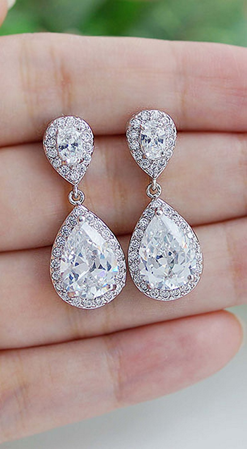 Earrings diamond wedding brides (48)
