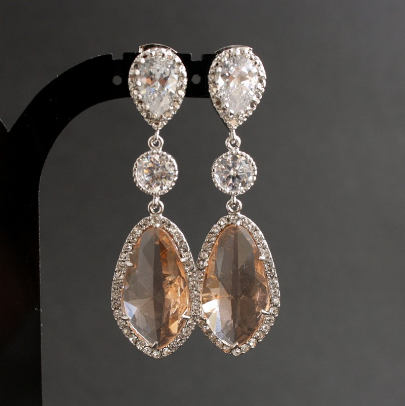 Earrings diamond wedding brides (9)