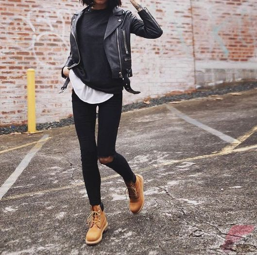 Black leather jacket outfit 35