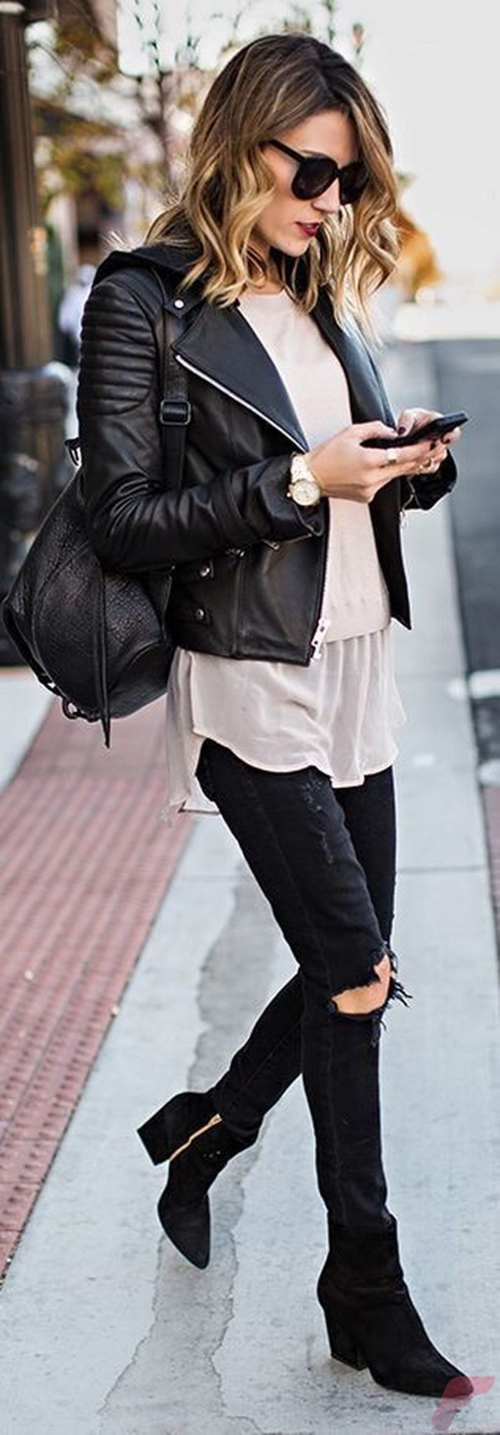 Black leather jacket outfit 36