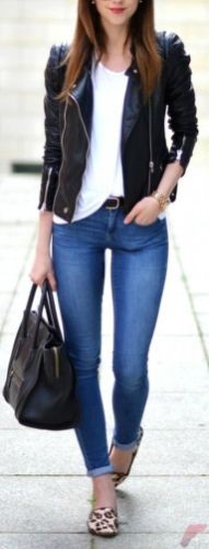 Black leather jacket outfit 8