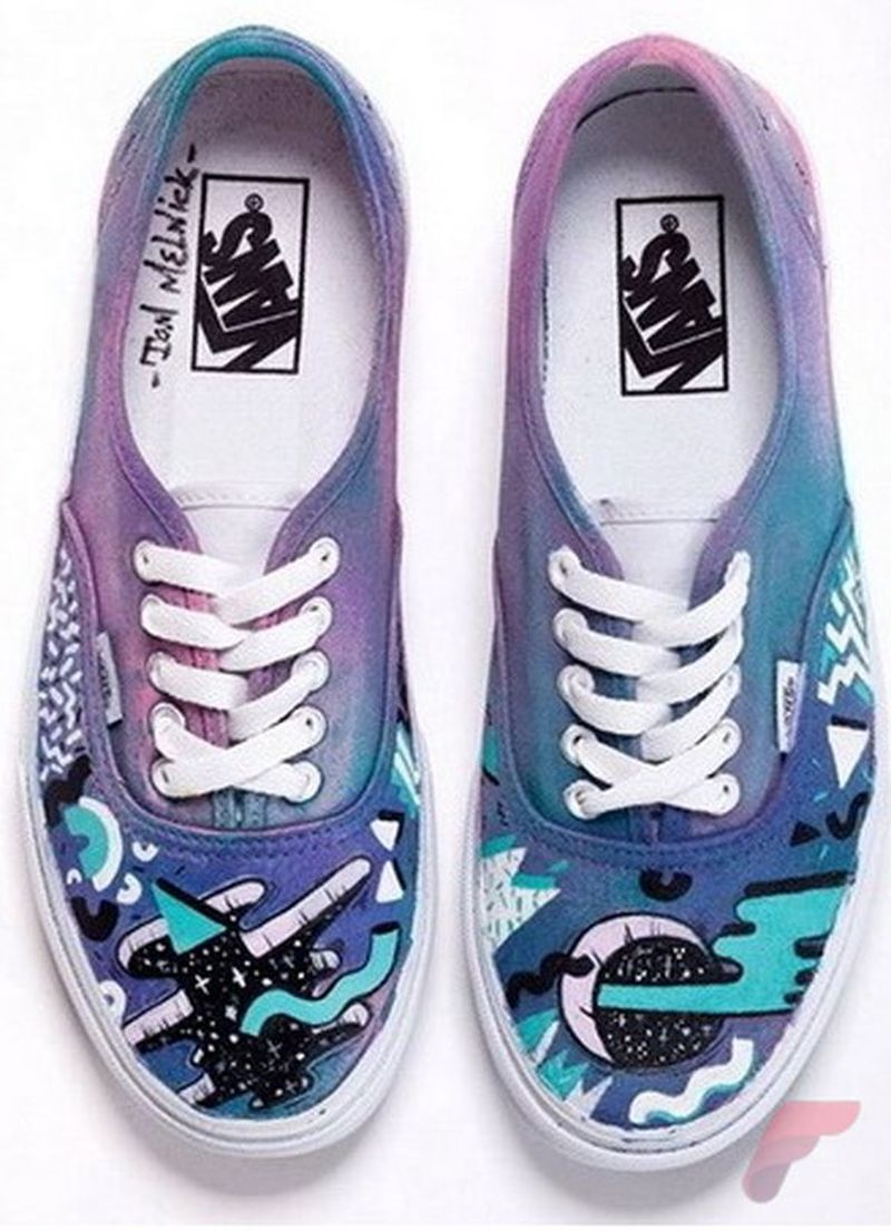 Custom painted vans shoes 38