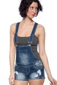 Denim overalls short outfit 112