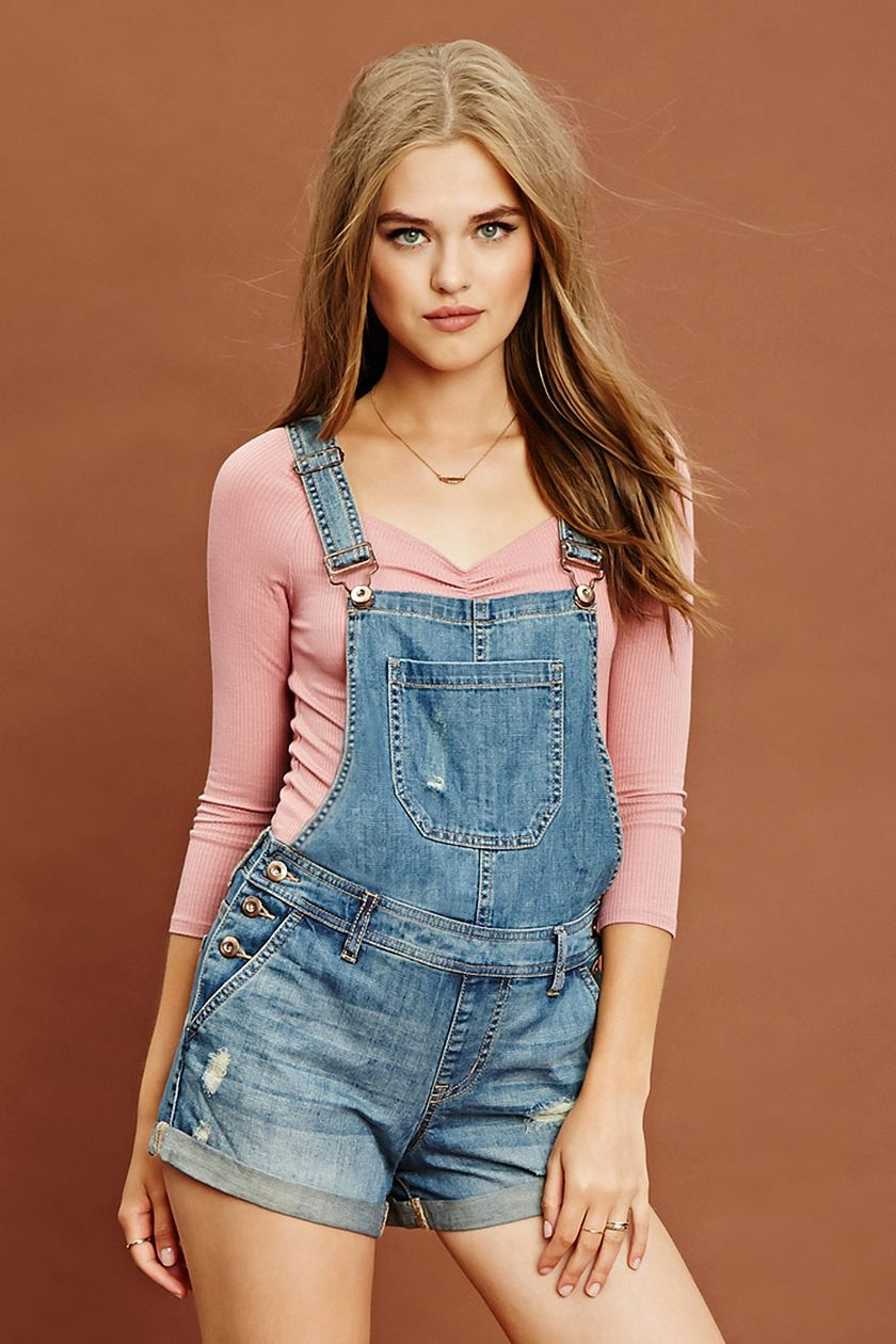 Denim overalls short outfit 116
