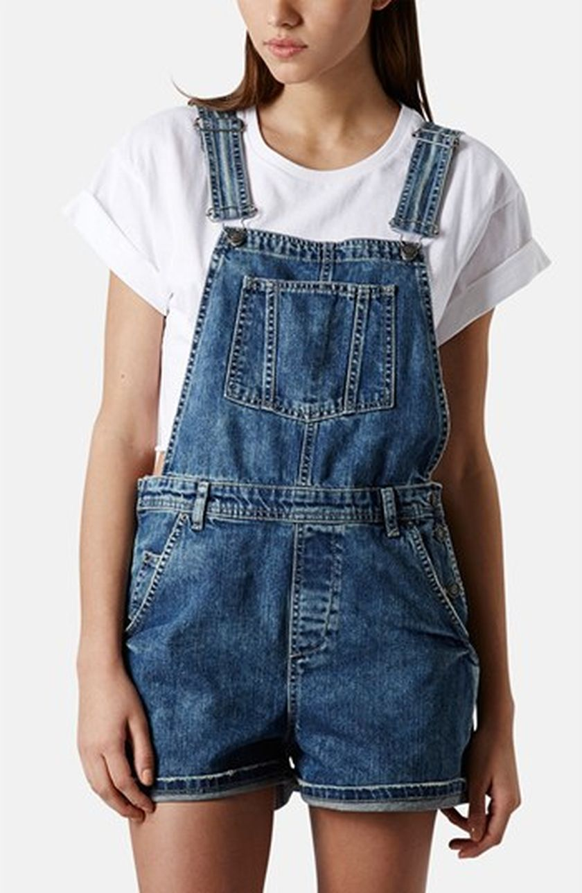 Denim overalls short outfit 119