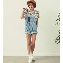 Denim overalls short outfit 12
