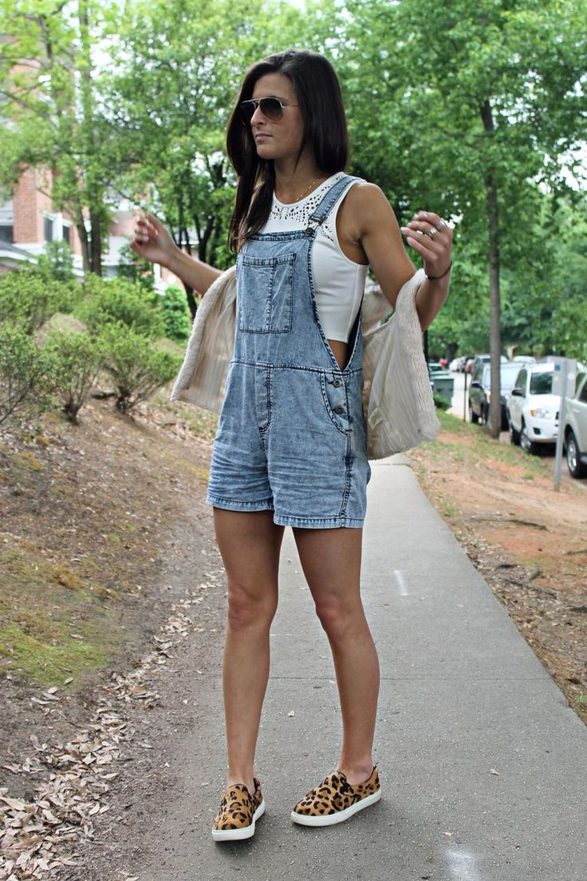 Denim overalls short outfit 15