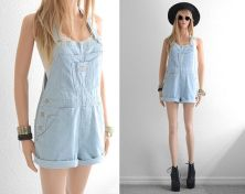 Denim overalls short outfit 24