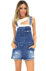Denim overalls short outfit 4