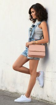 Denim overalls short outfit 41