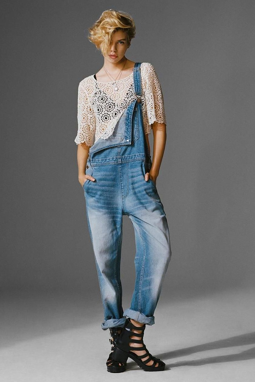 Denim overalls short outfit 50