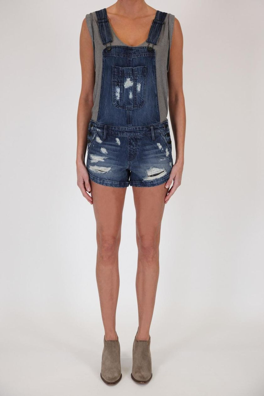 Denim overalls short outfit 57