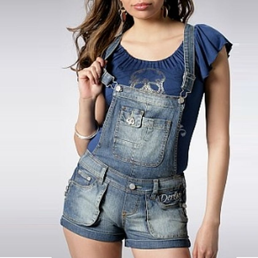 Denim overalls short outfit 60