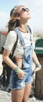 Denim overalls short outfit 67
