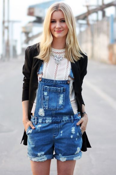 Denim overalls short outfit 8