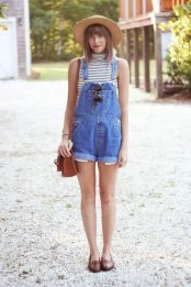 Denim overalls short outfit 87